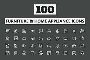 100 Furniture Home Appliances Icons