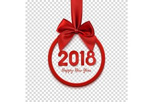 Happy New Year 2018 round banner with red ribbon and bow.