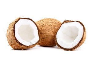 Two fresh coconuts isolated on white background