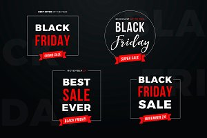 4 Black Friday Sale Banners Set