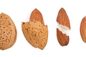 almonds peeled and unpeeled with isolated on white background. Set or collection. Top view