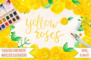 55 Yellow Roses, Leaves and Spots
