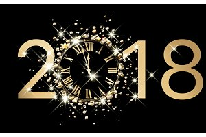 2018 New Year sign with golden clock