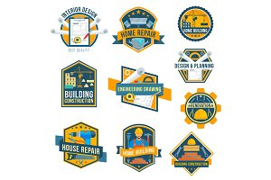Vector label icons of house repair work tools
