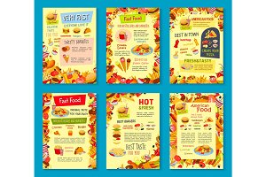 Fast food meals vector menu posters