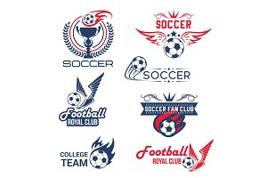 Vector soccer football club tournament icons set