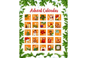 Christmas advent month days calendar vector design
