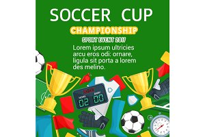 Vector poster for soccer or football cup
