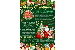 Santa with Christmas tree and gift greeting banner