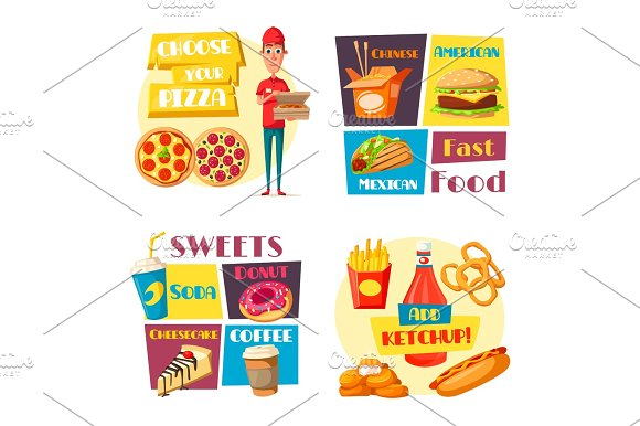 Fast Food Meals Vector Pizza Burger Posters