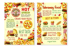 Fast food pizza burger takeaway vector menu poster