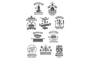 Mexican food cuisine restaurant vector icons set