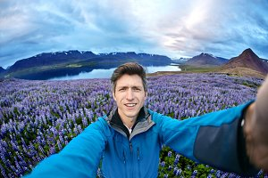 man posing on nature in Iceland
