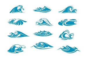 Vector icons of ocen water wave blue splash