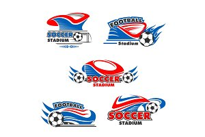 Vector icons of soccer or football arena stadium