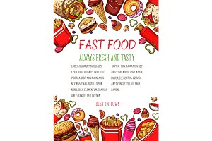 Vector fast food sketch poster for restaurant