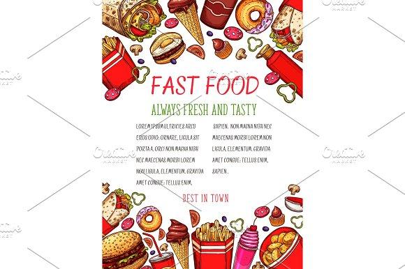 Vector Fast Food Sketch Poster For Restaurant