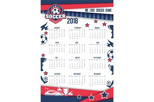 Vector calendar 2018 for soccer or football
