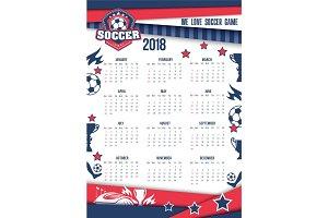Vector calendar 2018 for soccer or football