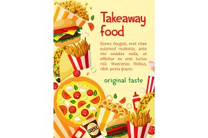 Fast food vector poster takeaway restaurant menu
