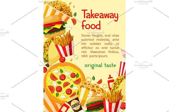 Fast Food Vector Poster Takeaway Restaurant Menu