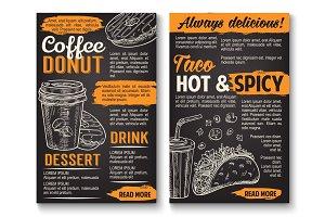 Fast food vector tacos donut coffee sketch menu