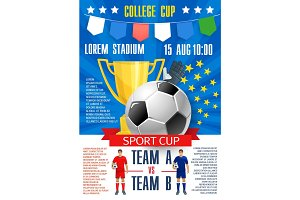Vector poster for soccer football college league