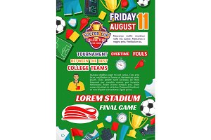 Vector poster for soccer college league game