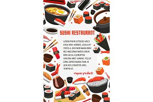 Vector sushi restaurant Japanese food poster