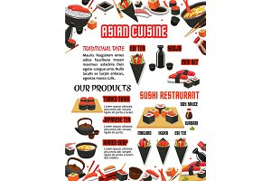 Vector menu for Japanese food sushi bar restaurant