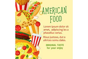 Vector fast food poster for restaurant