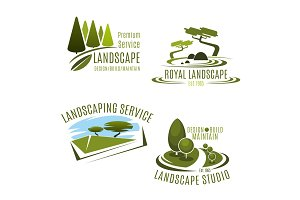 Vector icons gardening landscape design company