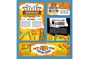 Vector home repair sketch work tools poster