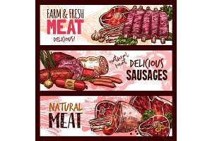 Vector sketch butchery shop meat product banners