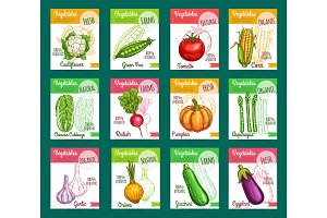 Vector sketch fam vegetables or veggies posters