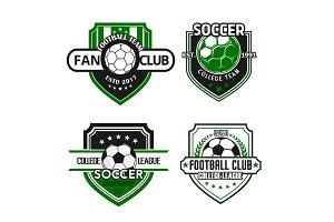 Vector icons for soccer team football fan club