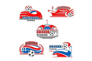 Vector icons of soccer arena or football stadium