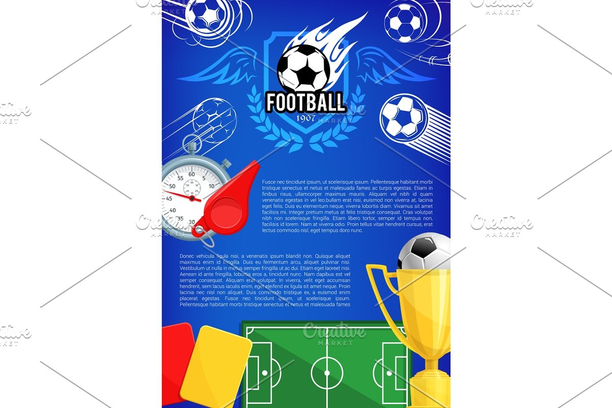 Vector poster for football championship cup