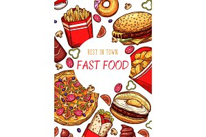 Fast food restaurant vector fastfood sketch poster