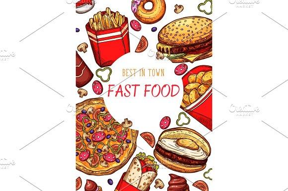 Fast Food Restaurant Vector Fastfood Sketch Poster