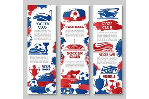 Vector banners for soccer or football game club