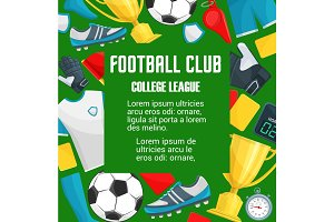 Vector poster for soccer college league club