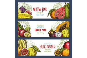 Vector banners of tropical exotic fruits harvest