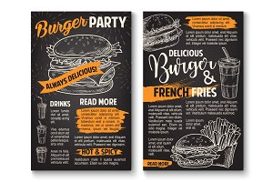 Vector sketch burger fast food restaurant posters