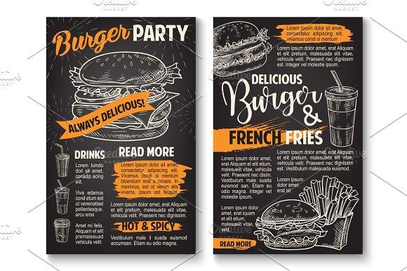 Vector Sketch Burger Fast Food Restaurant Posters