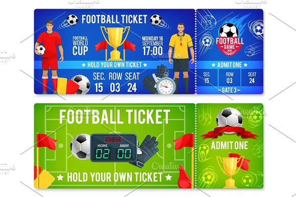 vector tickets template for soccer football cup illustrations
