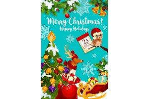 Santa sleigh with Christmas gift and reindeer card