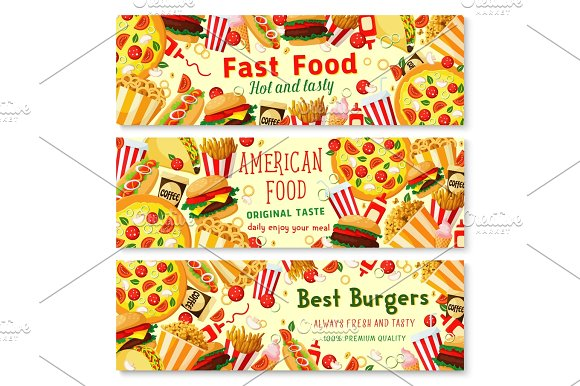 Vector Fast Food Burgers Restaurant Banners