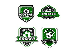 Vector icons for soccer college team championship