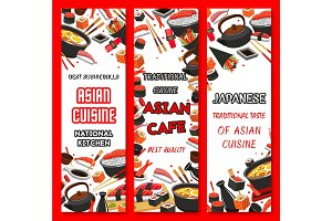 Vector banners for Japanese sushi restaurant